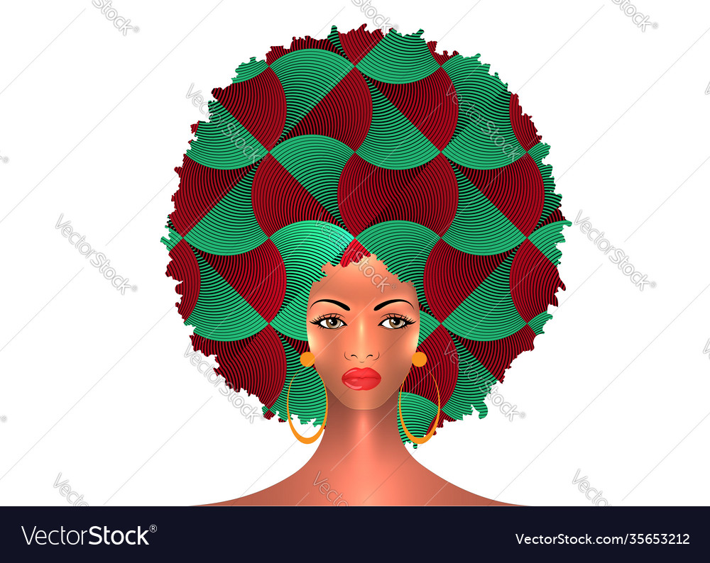 Portrait african american woman curly hair style