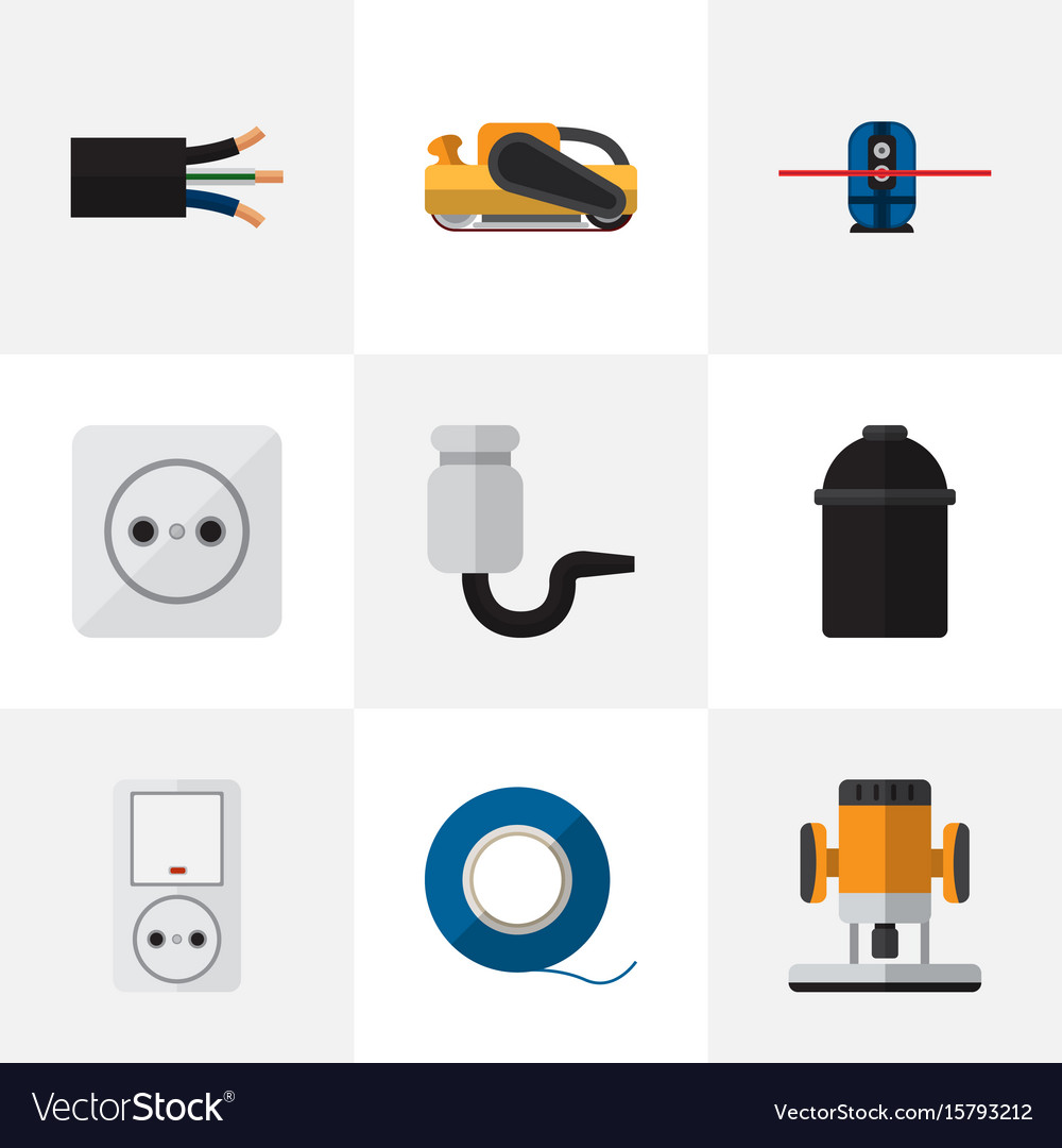Set of 9 editable electrical icons includes