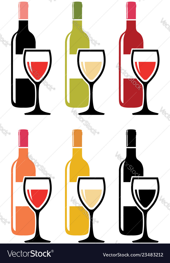 Set of colorful icons of red wine bottles with