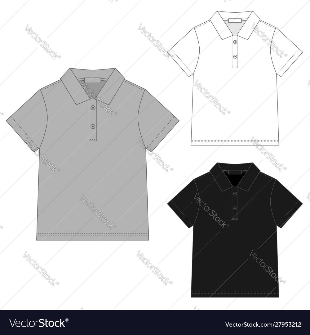 Set polo t shirt design template technical