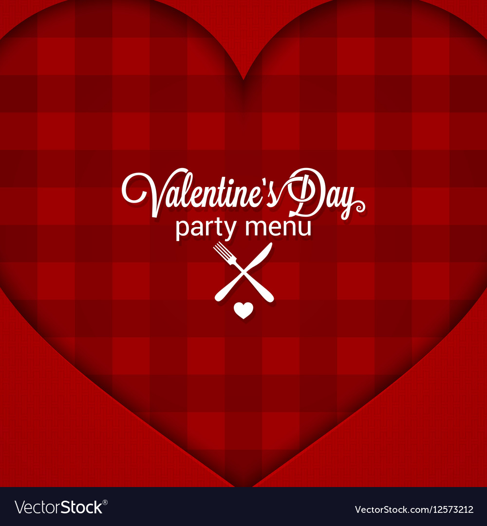 Valentines Day Dinner Party Menu Background Vector Image
