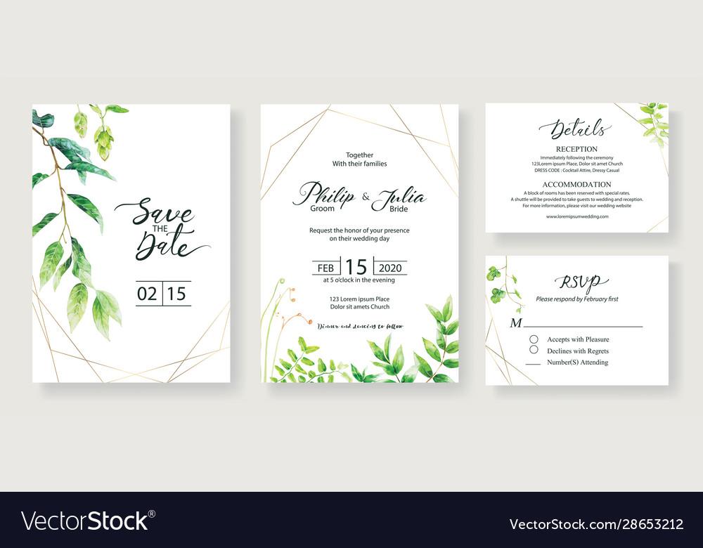 Wedding invitation save date thank you rsvp