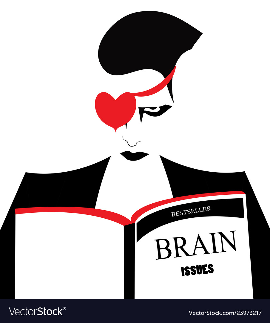 An angry man reading a book about brain issues