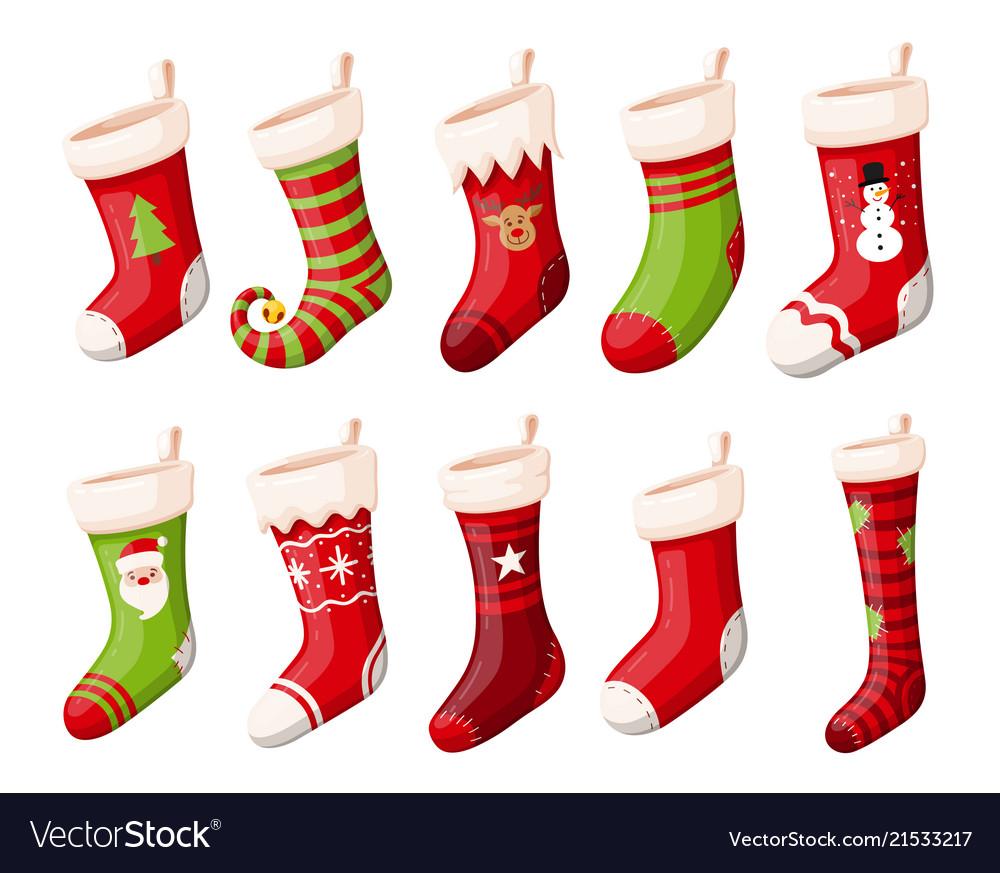 Christmas stockings or socks isolated set Vector Image