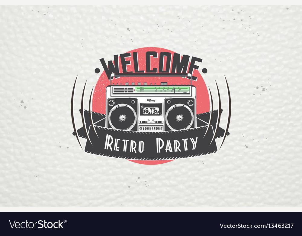 Color sticker retro party disco music event at
