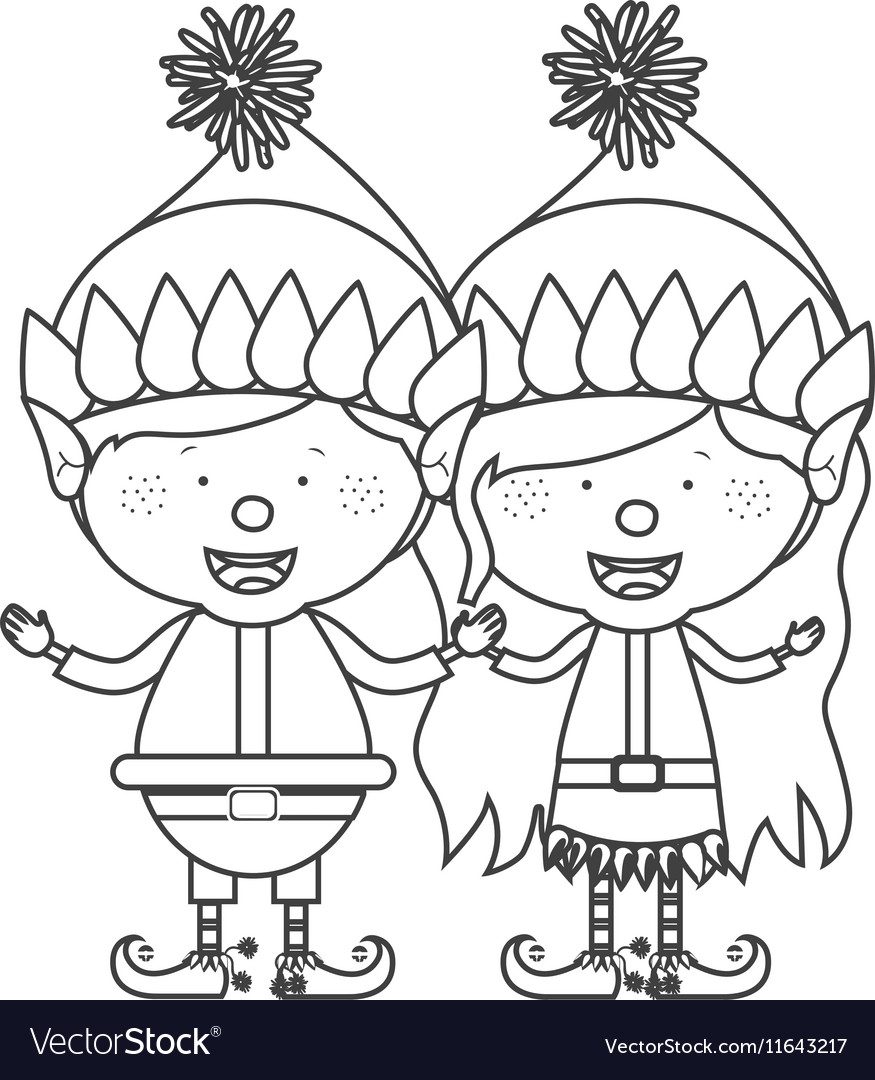 Christmas Gnome Drawing.Contour With Couple Of Christmas Gnome Children