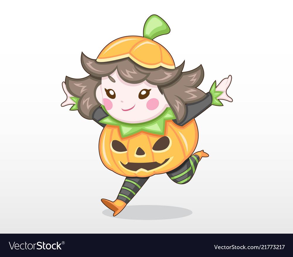 Cute style girl in pumpkin costume