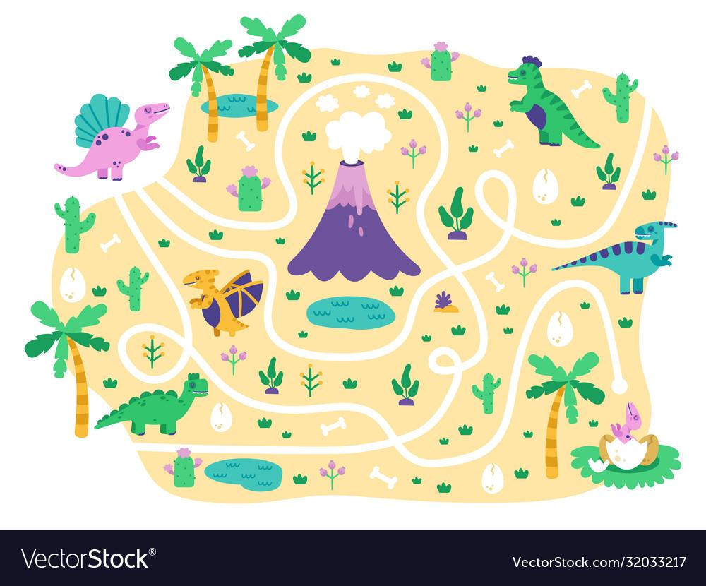 Dinosaurs kids maze dino mom find eggs children