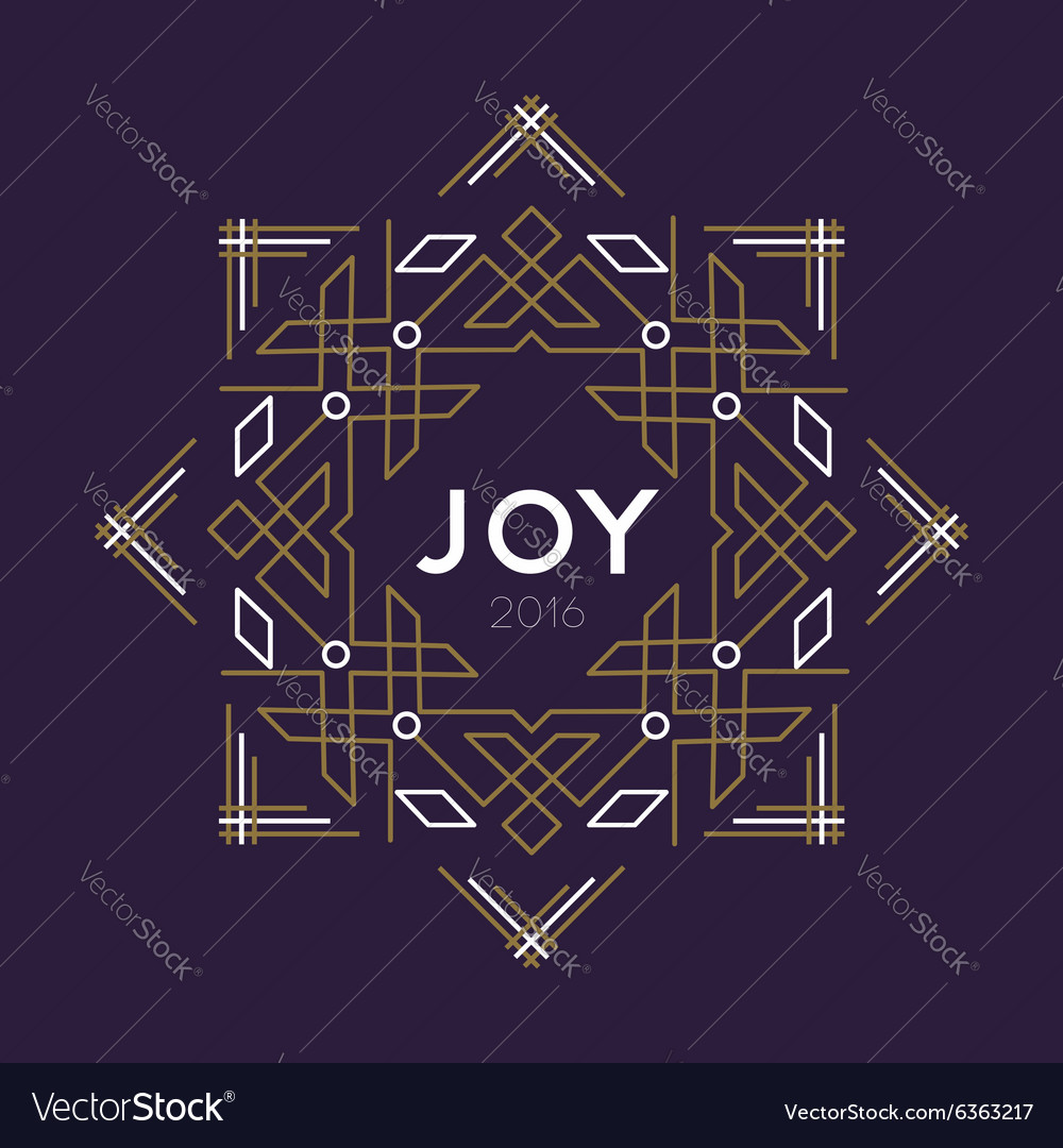 happy new year 2016 frame art deco joy card line vector image