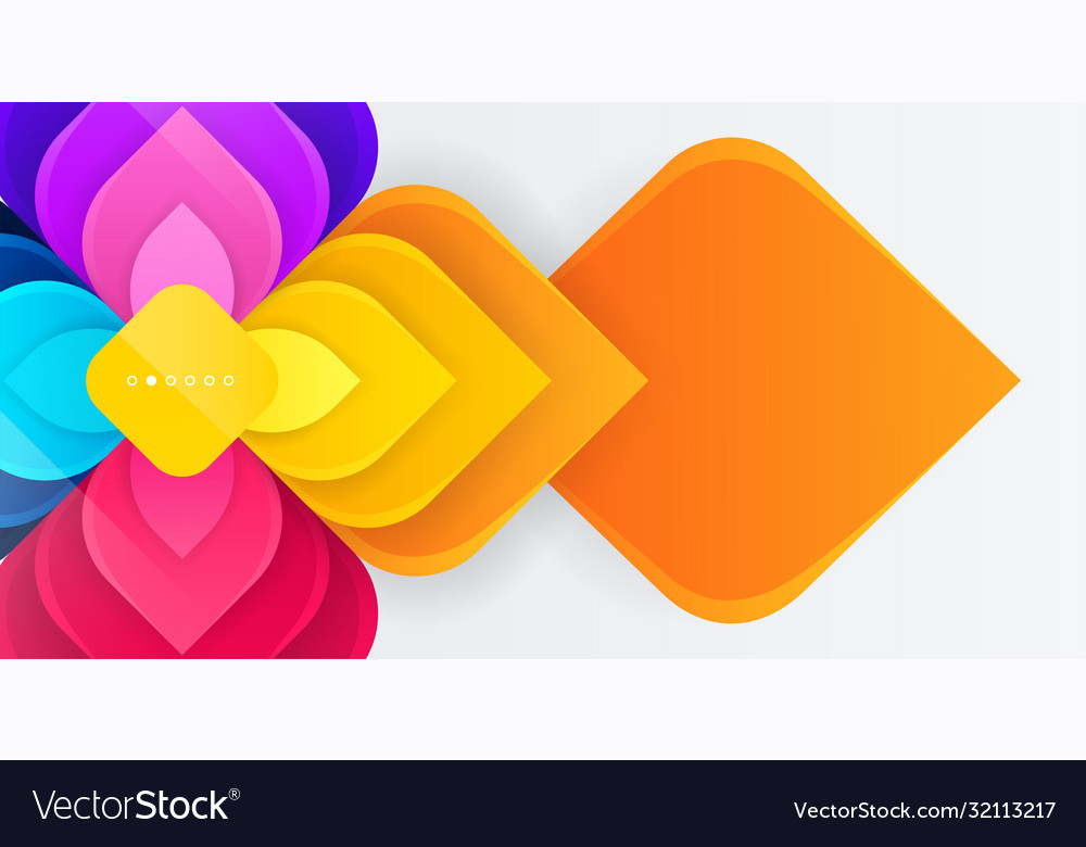 Modern colorful geometric flower with square