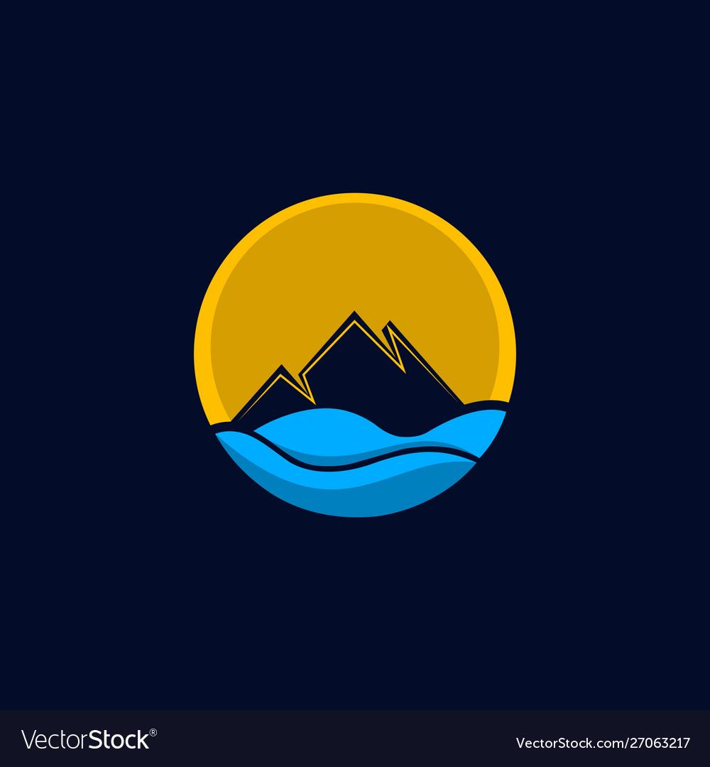 Mountain sea ocean creative logo