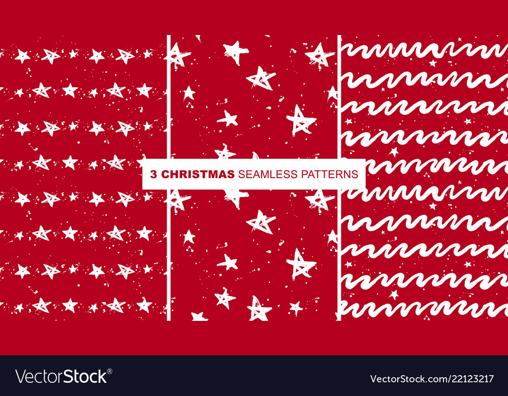 Red christmas stars and zigzag pattern