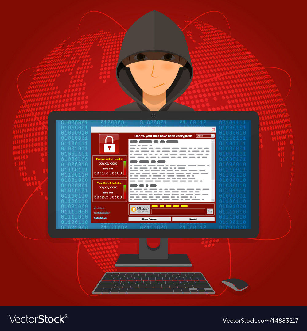 Virus malware ransomware wannacry encrypted your vector image
