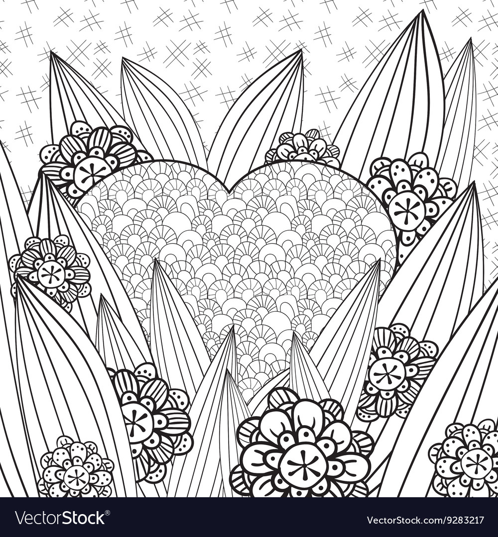 Whimsical garden adult coloring page