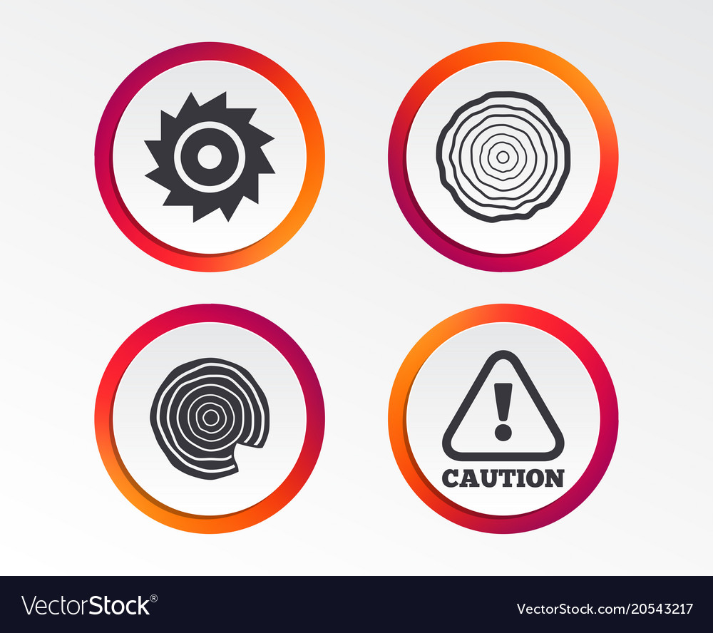 Wood and saw circular wheel icons attention