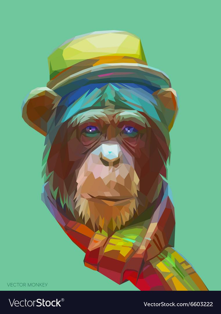 Chimpanzee polygonal eps 10
