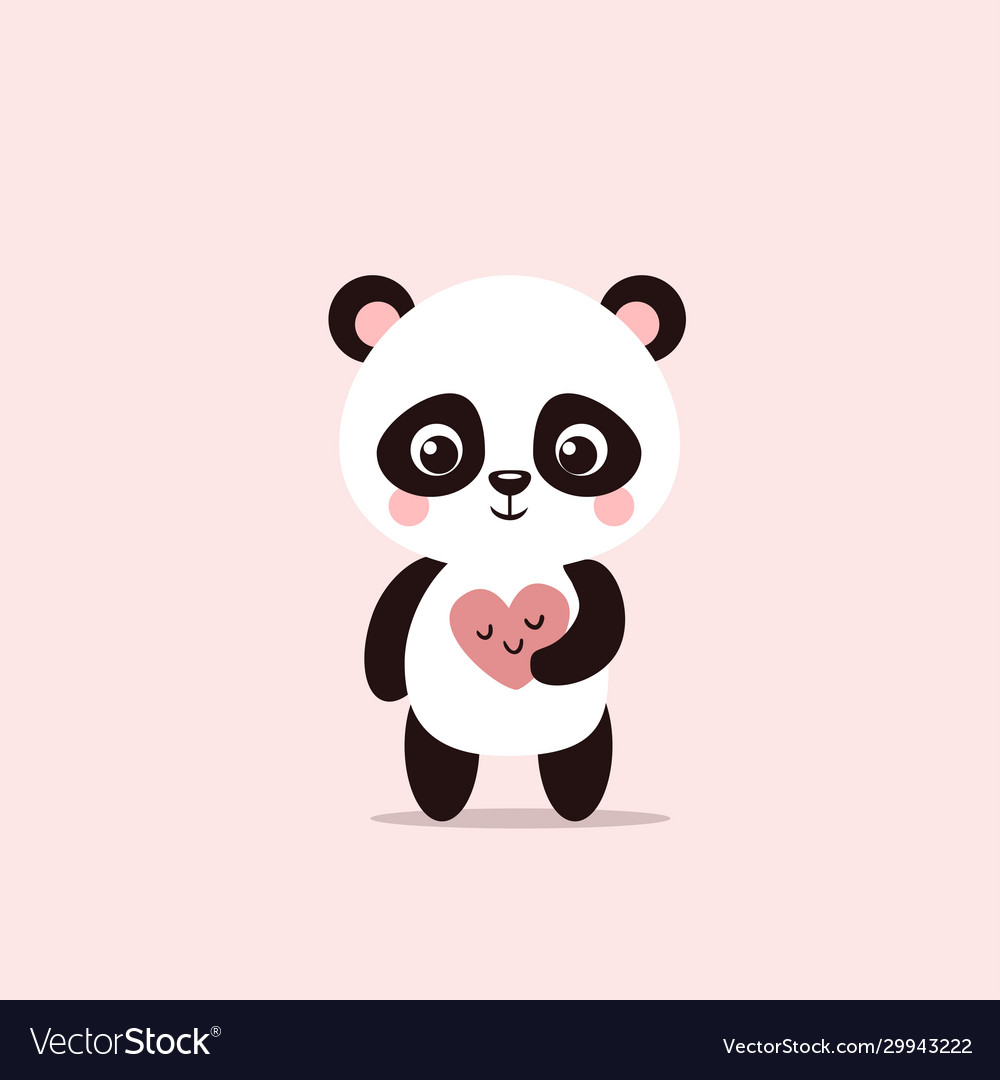 Cute little panda holds a valentine in his hands