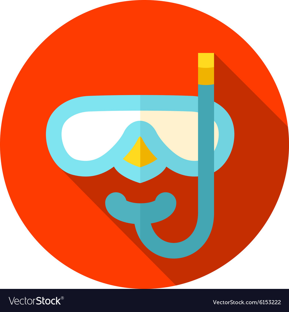 Diving Mask flat icon with long shadow