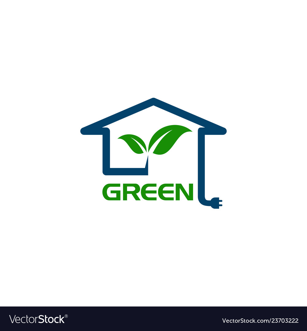 Eco house with leaf and power plug concept logo