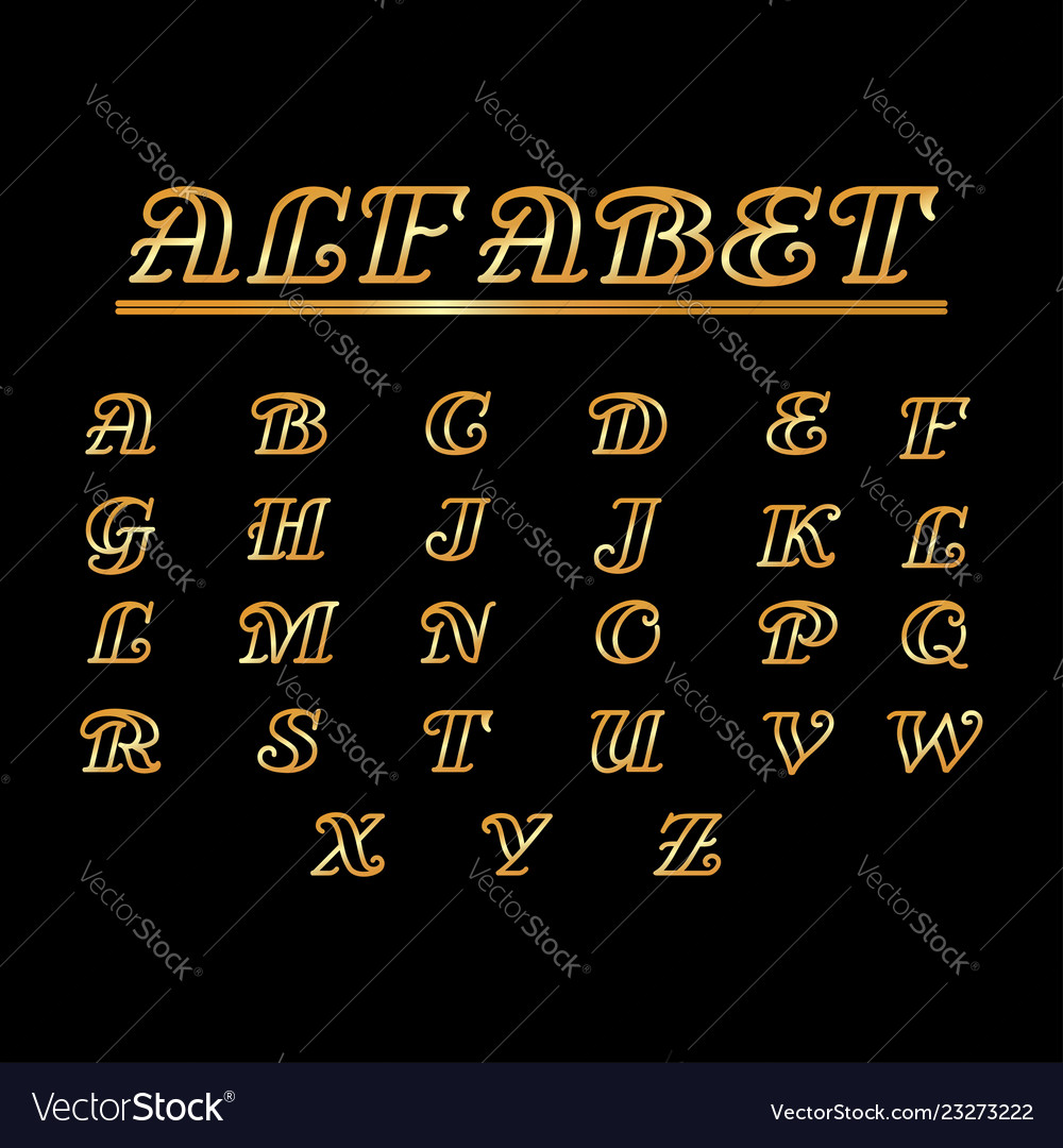 Font alphabet gold