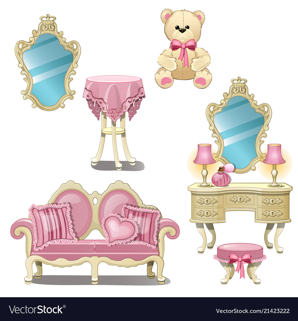 Furniture for interior girl room in pink color