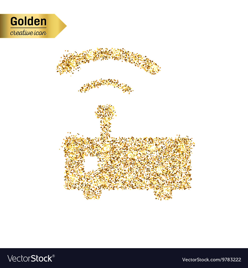 Gold glitter icon of wifi router isolated vector image