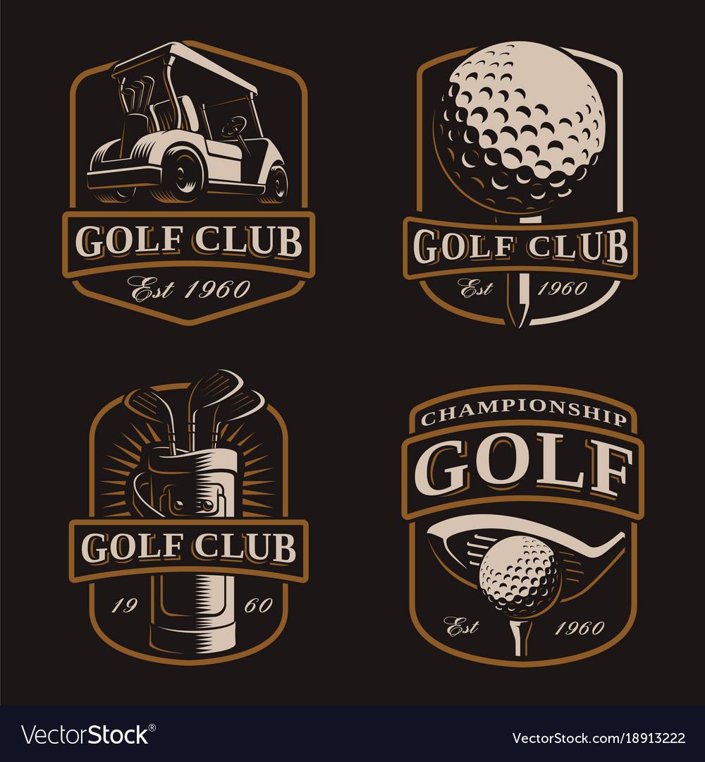 Golf set on dark background