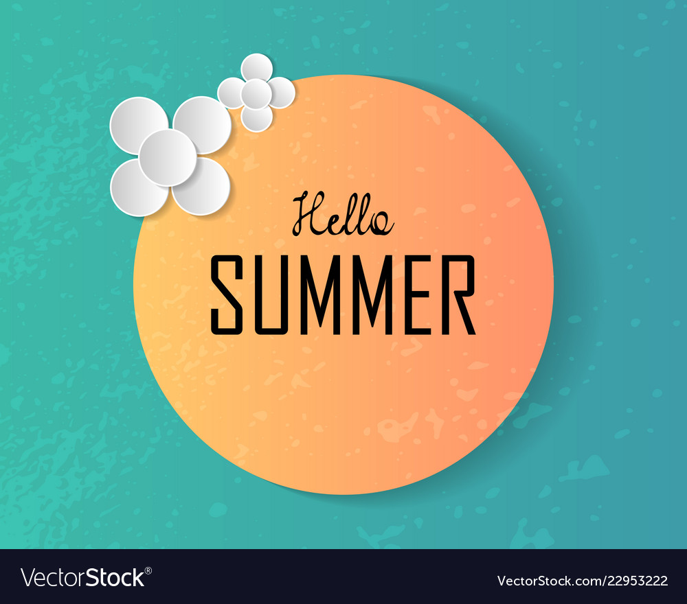 Hello summer text on large sun and decorated