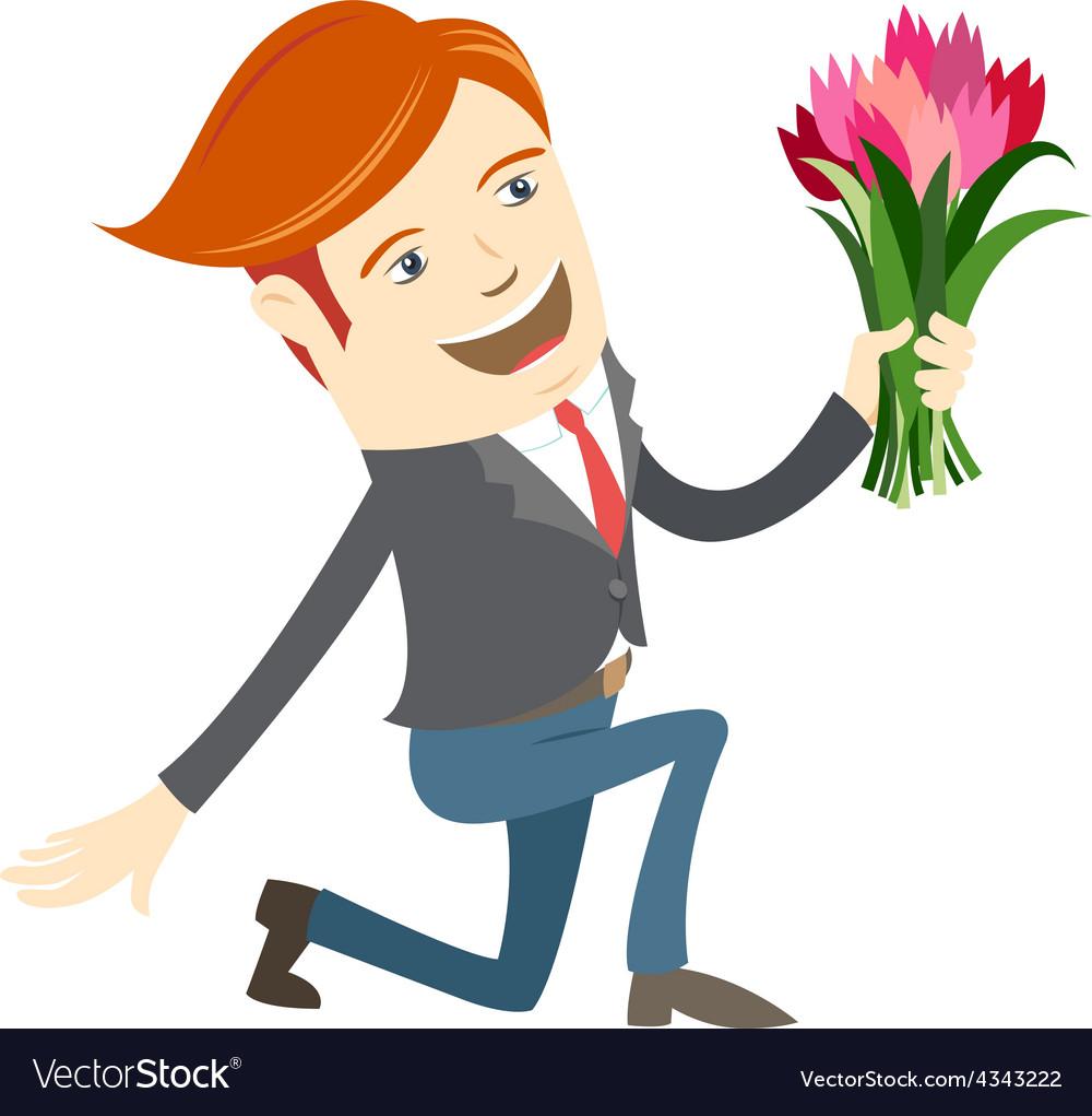 Hipster funny man kneeling holding flowers Flat