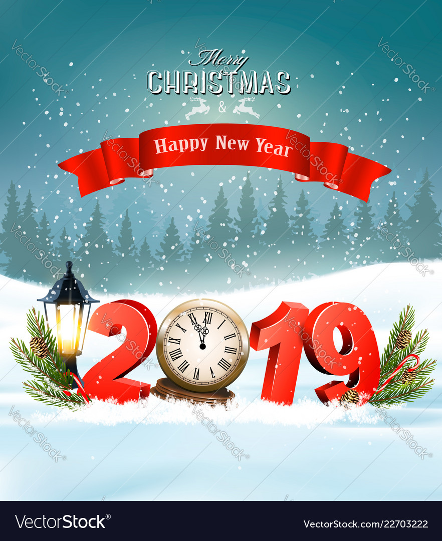 Merry Christmas Background.Merry Christmas Background With 2019 And Clock