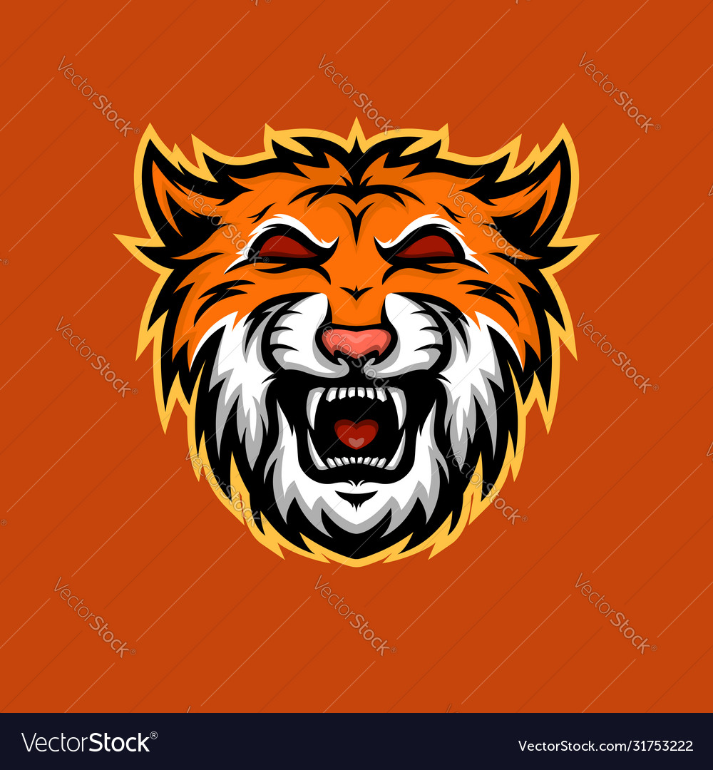 Orange tiger mascot e-sport logo