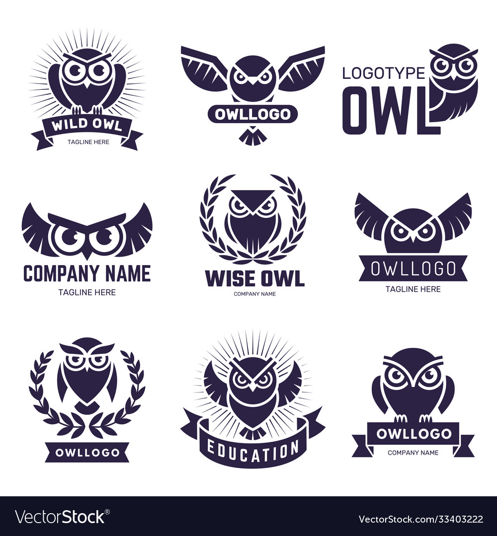 Owl badges flying birds with feathers wild