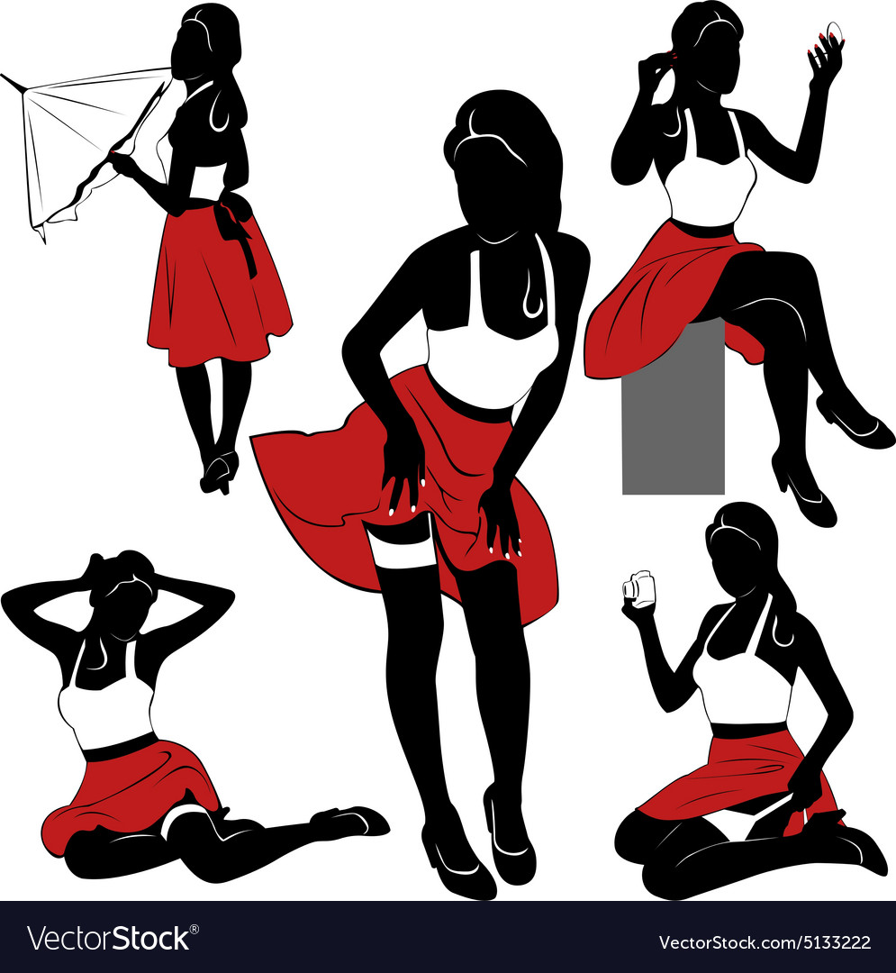 pin up silhouettes royalty free vector image vectorstock rh vectorstock com pin up vector free pin up vector art