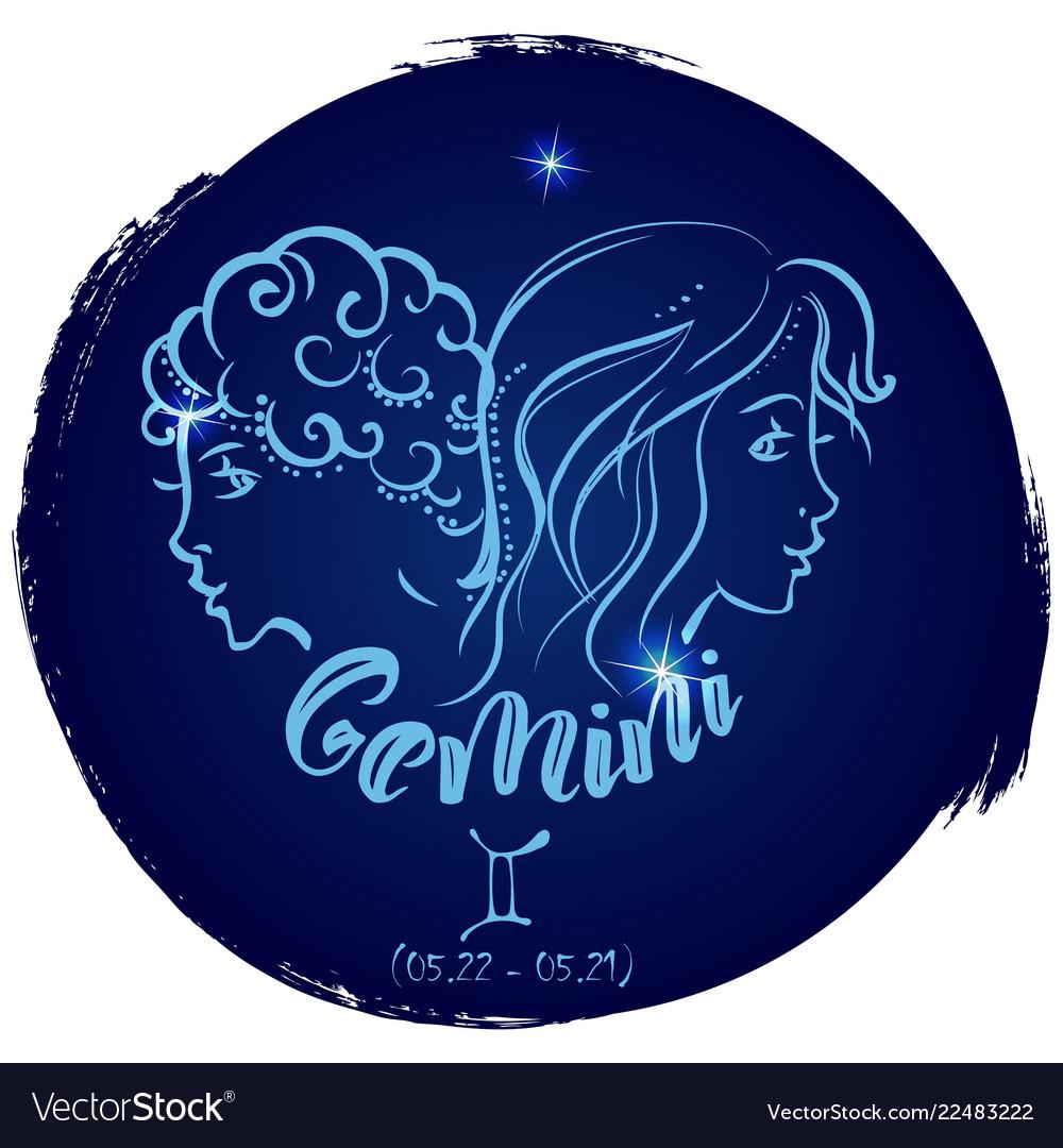 Round zodiac sign gemini
