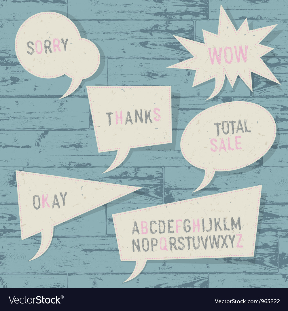 Sample text and sketch alphabet in speech bubbles vector image