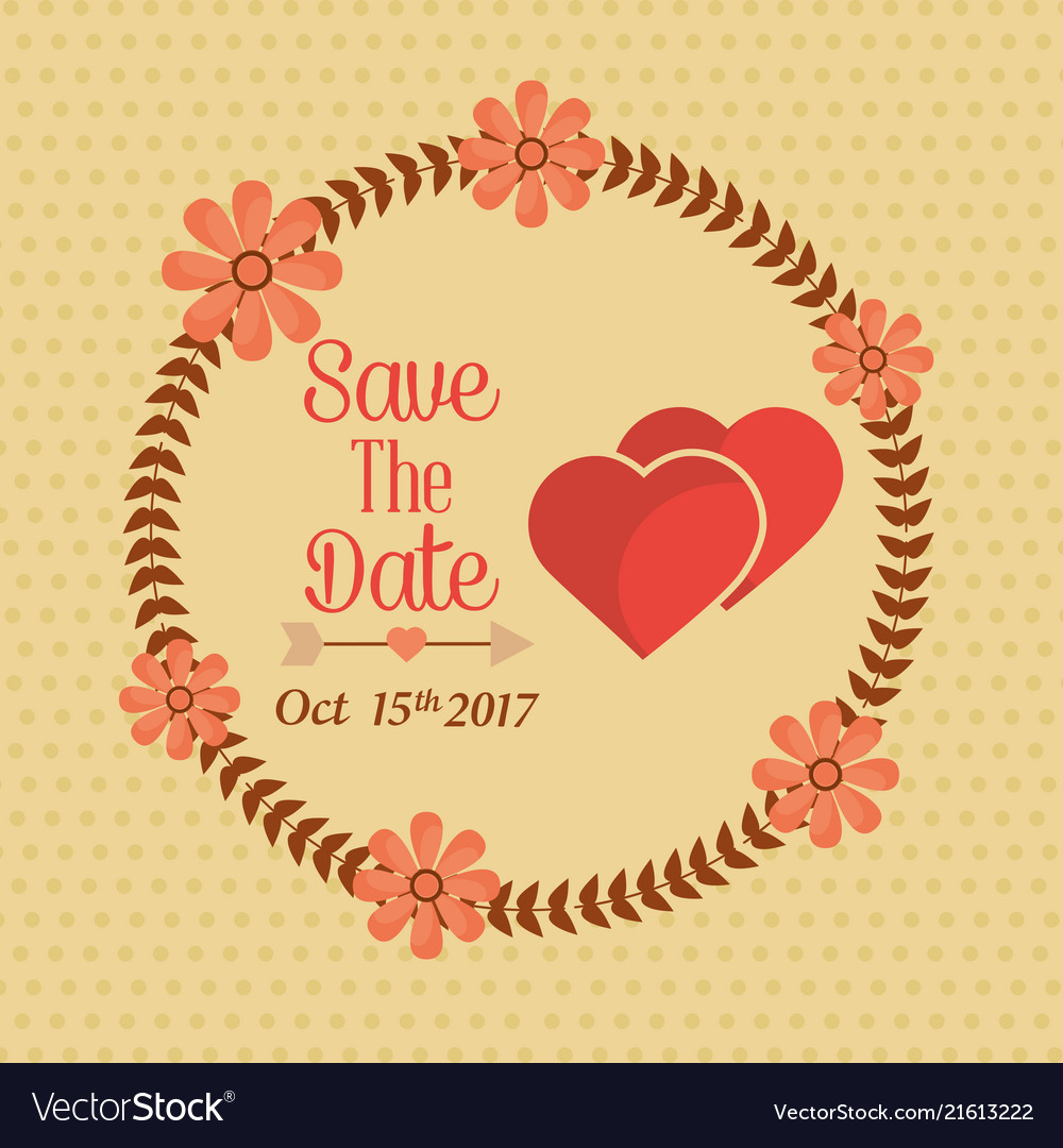 Save the date wreath floral hearts lovely