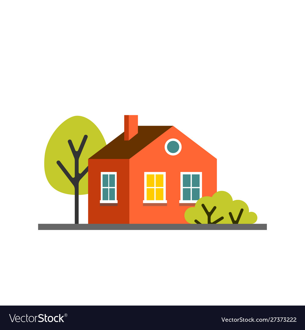 Small cartoon red orange house with trees