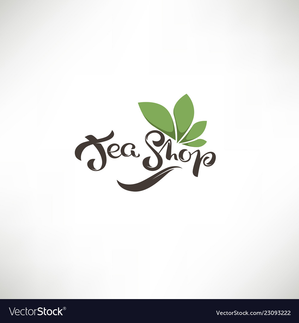 Tea shop lettering composition and green leaves