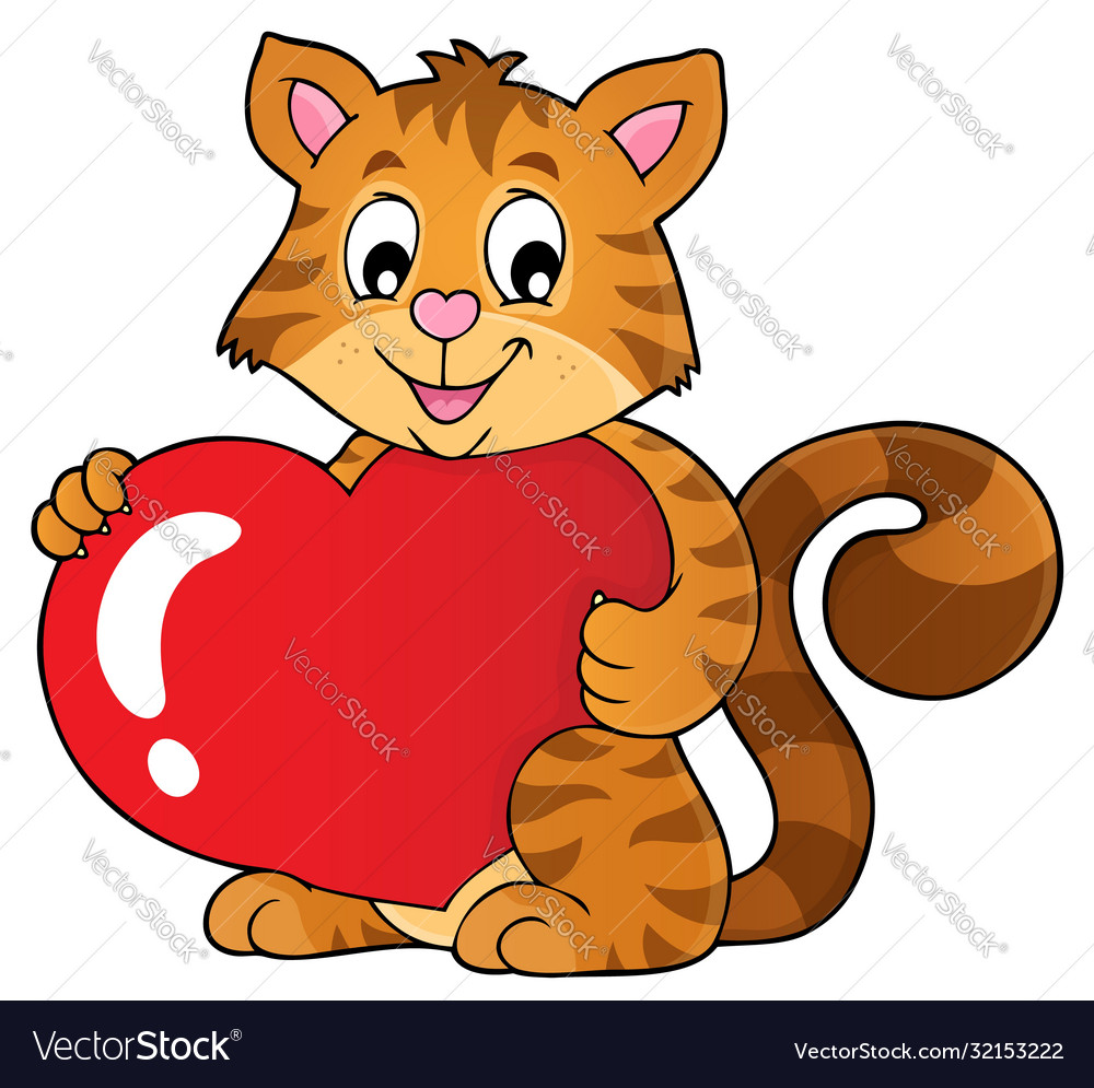 Valentine Cat Topic Image 1 Royalty Free Vector Image