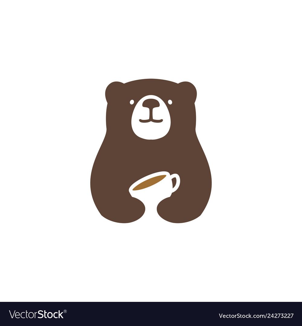 bear coffee logo icon royalty free vector image vectorstock