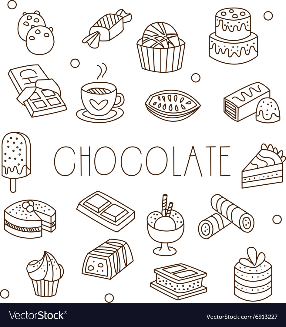 Chocolate and Sweets in Handdrawn Style vector image