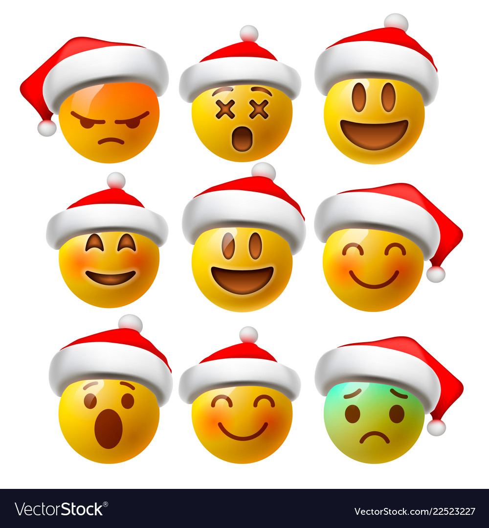 Christmas smiley face emojis or yellow emoticons