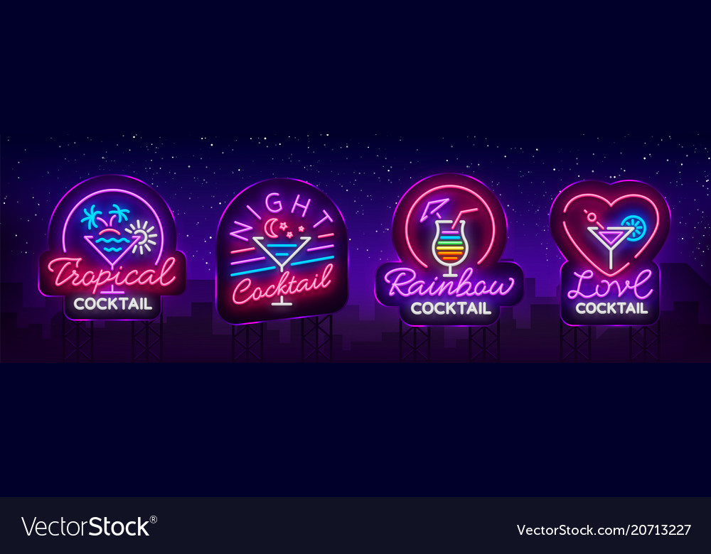 Cocktail collection logos in neon style