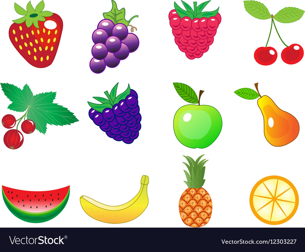 Cute cartoon different fruits icons set