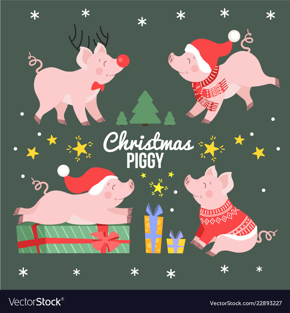 Cute set new year winter piggy