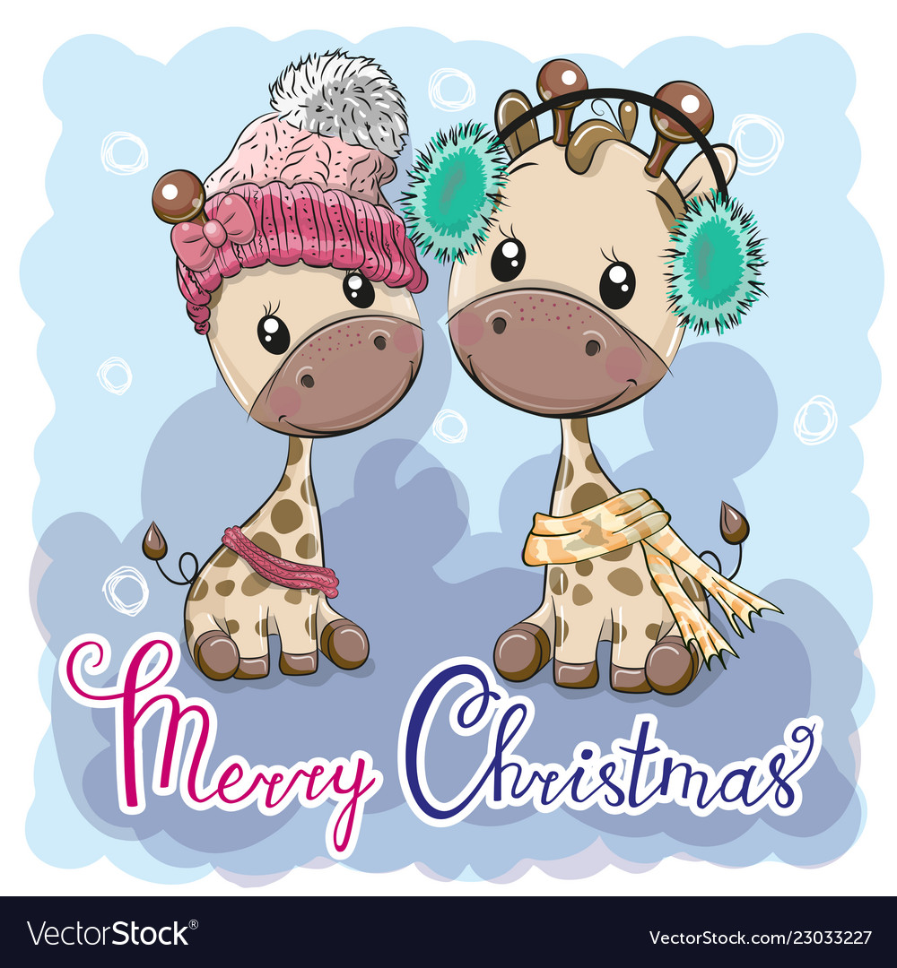 cute winter giraffes boy and girl royalty free vector image