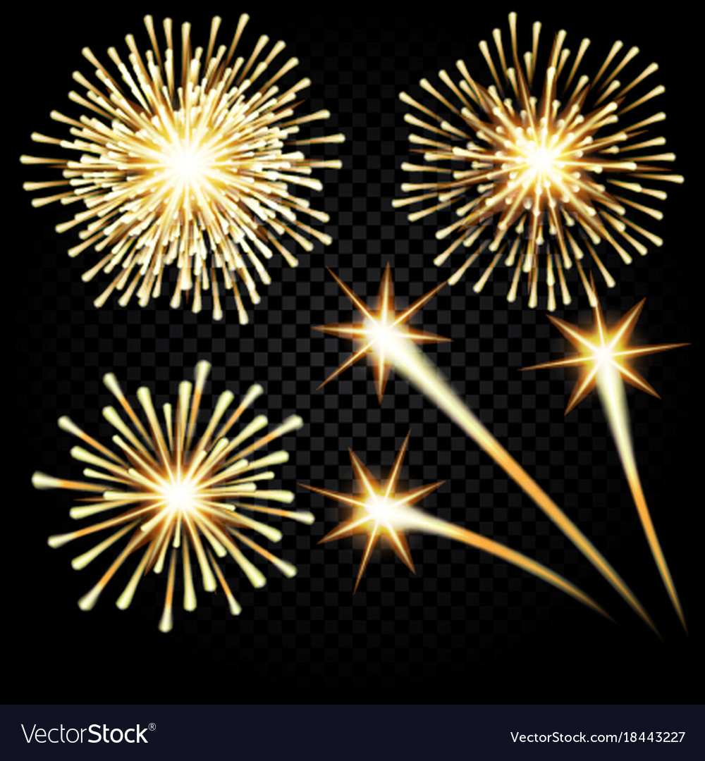 festive golden firework salute burst on royalty free vector rh vectorstock com Fireworks No Background Shooting Fireworks