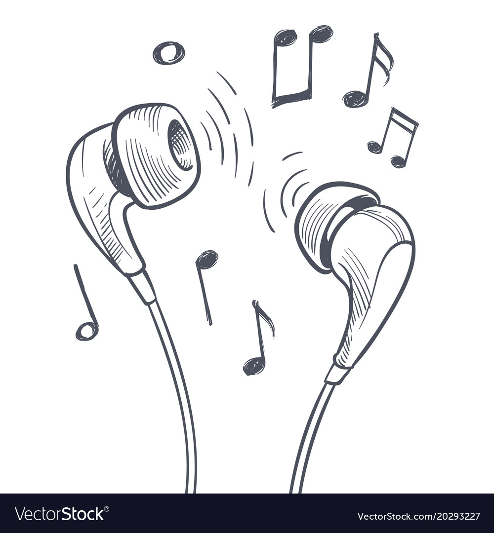 Hand drawn headphones and musical notes doodles vector image