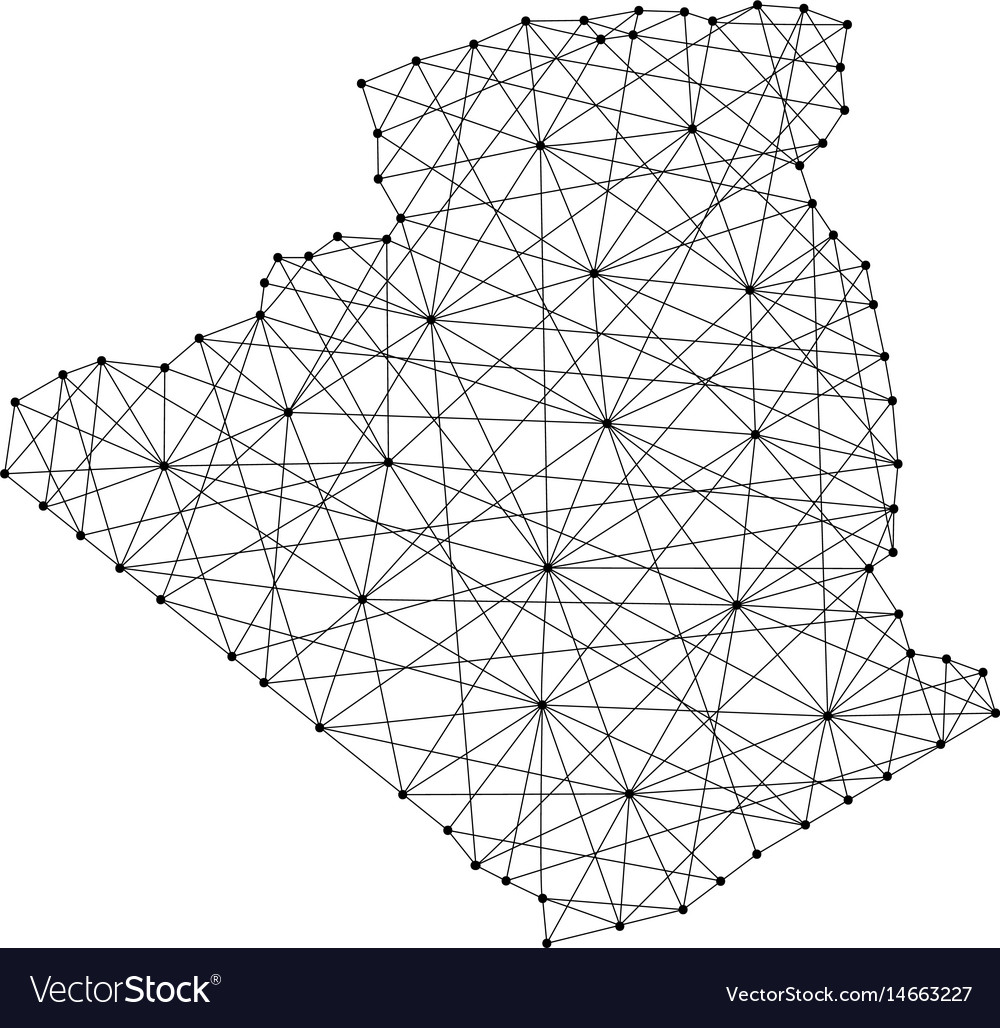 Map of algeria from polygonal black lines and dots vector image