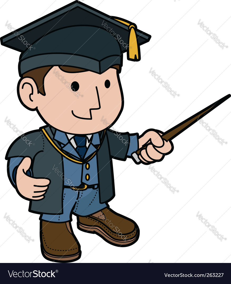 Professor in cap and gown Royalty Free Vector Image
